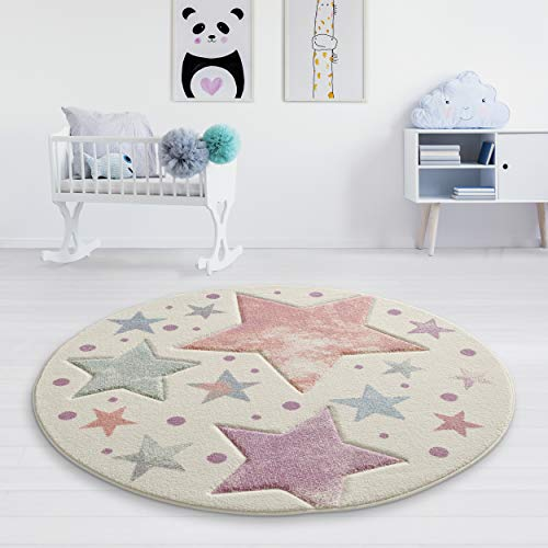 Taracarpet Kinderzimmer und Jugendzimmer Teppich Dreamland Kinderzimmerteppich Sterne Creme Vintage bunt 150 cm rund