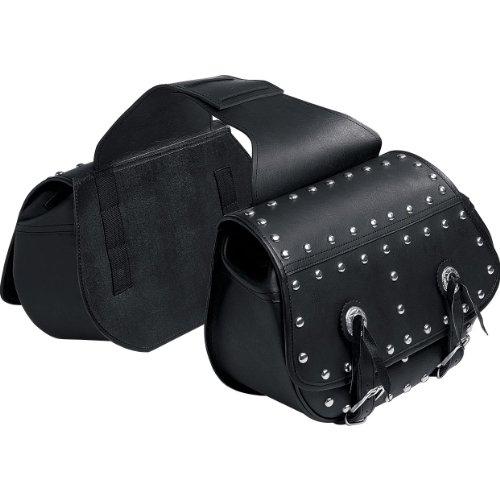 QBag Motorrad Satteltaschen für Motorrad Taschen Kunstledersatteltaschenpaar 09 mit Nieten, pflegeleicht, widerstandsfähig, wetterfest, lange Haltbarkeit, Reißverschluss-Hauptfächer, Einschubtaschen, Schwarz, 30 Liter