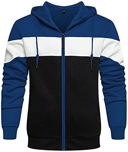 cappotto uomo blu WINKEEY Felpa con Cappuccio da Uomo a Maniche Lunghe Felpa con Cappuccio Dike Jacket con Cerniera Cappotto Autunnale con Tasche