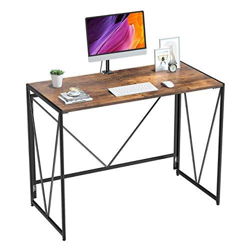 NOBLEWELL Schreibtisch, ohne Montage klappbarer Computer Tisch, Sturdy Arbeitstisch, Haus Foldable Table aus HolzL100 x W50 cm für Studieren, Arbeiten usw. Rustikales Braun
