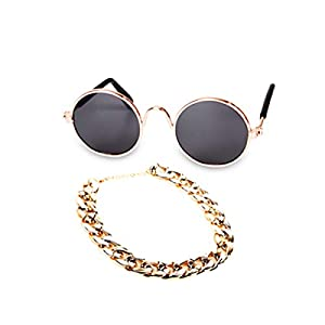 WODISON Cool Pet Dog Cat Costume Sunglasses and Gold Chain Collar Set of 2