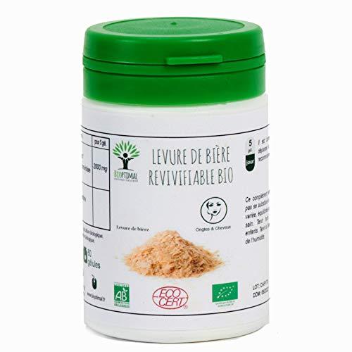 Levure de bière Revivifiable - Bioptimal - Complément alimentaire - Levuredebièrebio - Digestion - Ongles, cheveux, barbe - Fabriqué en France - Certifié par Ecocert - (60 gélules)