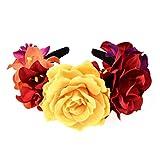 Lurrose flor rosa flor corona día de los muertos diadema disfraz de halloween tocado mexicano para cumpleaños de cosplay