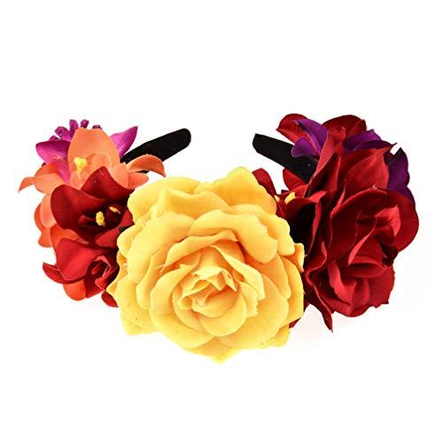 Lurrose flor rosa flor corona día de los muertos diadema disfraz de h