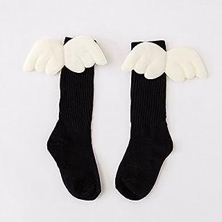 Zooarts® para 1 – 10 años Kid bebé niñas 3D alas de ángel Calcetines Largo Rodilla calcetín Medias niño otoño Manguera, Negro, Medium