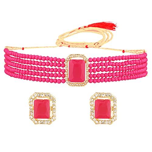 Efulgenz Juego de joyas indias con gargantilla de cristal y perlas de imitación de varias capas con cuentas y collar de bollywood para mujer, Metal, desconocido,