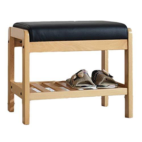 CYQ Banco de Zapatos Simple de Madera Maciza - Taburete de Pasillo Simple Abedul - Bolso Suave cojín de Cuero de imitación Zapatero Estante de Almacenamiento en el Pasillo y la Sala de Estar (Ta