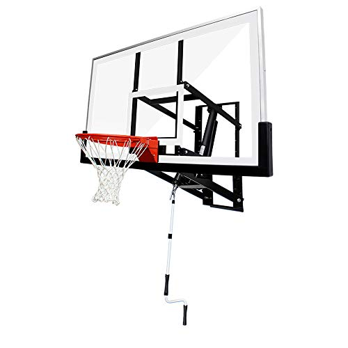 """PROGOAL Basketball Hoop Garage Wall Mounted Adjustable-Height, with 60""""x36""""Tempered Glass Backboard, Pro-Style Dual-Spring Breakaway Rim, Durable Bracket and All Weather Net"""