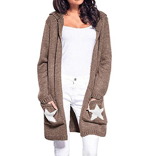 MEIbax Damen Langarm Strickjacke mit Kapuze Cardigan Jumper Sweatshirt Pullover Wollmantel