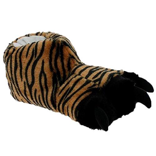 buyAzzo Lustige Tier Plüsch Hausschuhe | Warmfutter Tigerkralle Monster Slipper | Bigfoot Krokodil Pantoffel | Dogge Hund Schlappen | Winter Herbst Puschen Fell | BA0908 (45/46, Tigertatze_K)
