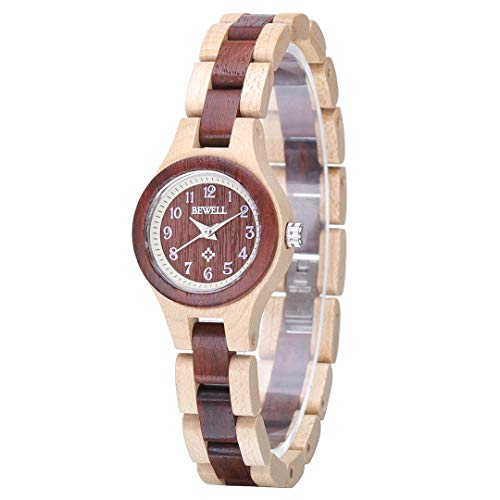 Bewell Small Dial Wooden Bangle Dress Watch Adjustable Round Quartz Wristwatches for Women (Beige and Red)