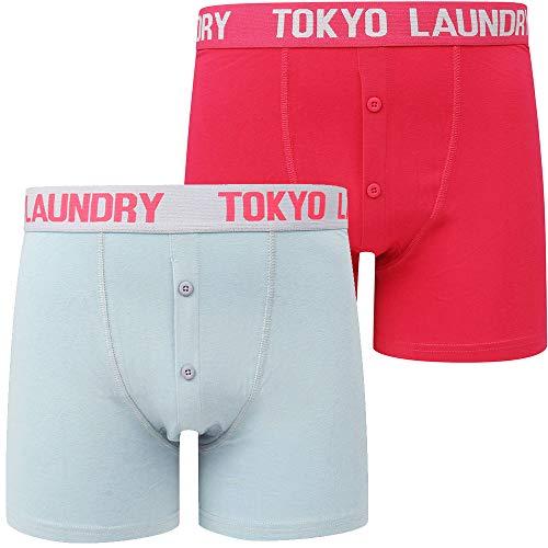 Tokyo Laundry Herren Designer Sport Stretch Trunks Kontrast 2er Pack Boxershorts Gr. XL, Edward - Blau/Rosa