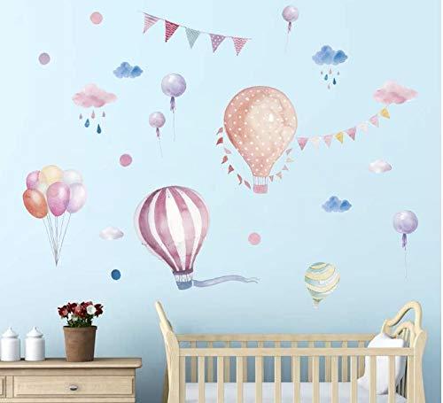 COVPAW Muurstickers Hot Air Balloon Dieren in Ballon Thuis Decor Kids Kwekerij Baby Kinderkamer Decals Jongens Meisjes Kamer XXL Paars-Roze