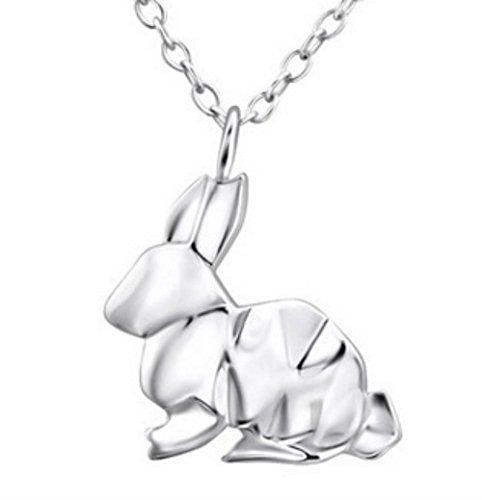 FaithOwl Collar con colgante de conejo origami en plata de ley 925