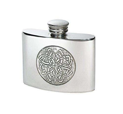 Wentworth Pewter - Petite flasque en étain avec motif de cercle celtique, flasque, flasque à spiritueux, capacité de 56,7 g