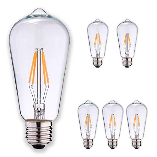 LEDesign 8002682134 Dimmable Edison ST21 LED Vintage Filament Light Bulbs, 6.5W (60W Equivalent), 800 Lumen, 2700K (Soft Warm White), E26 Base, IC Driver, CRI 80+ (Pack of 6)