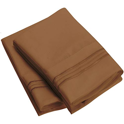 Price comparison product image Mellanni Luxury Pillowcase Set - Brushed Microfiber 1800 Bedding - Wrinkle,  Fade,  Stain Resistant - Hypoallergenic (Set of 2 King Size,  Mocha)