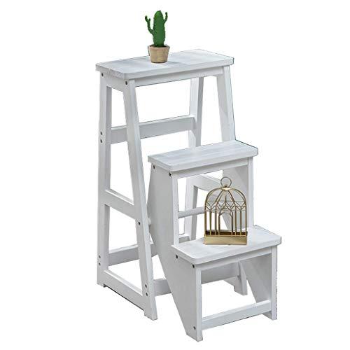 GJSN Taburete de escalón, 2 en 1, ligero, plegable, portátil, multifuncional, de madera, 3 escalones, silla de escalón, silla de escalón, asiento de utilidad, biblioteca, oficina, ático, taburete