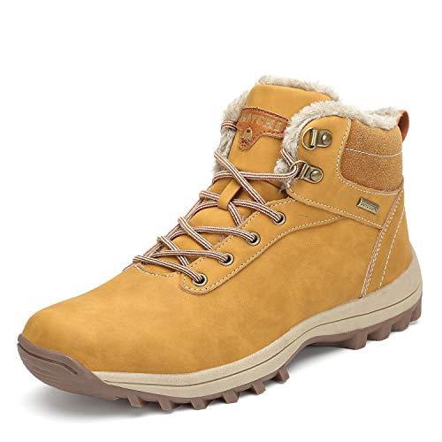 Mishansha Men's Women's Snow Shoes Fur Lined Warm Water Resistant Anti-Slip Winter Ankle Hiking Boots Khaki 11.5 Women/10 Men