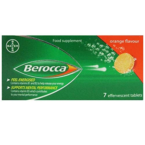 Berocca Orange Flavour Effervescent 7 Tablets (8 Packs = 56 Tablets)