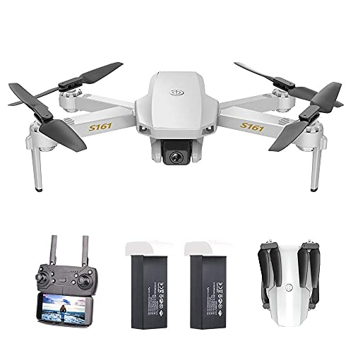 JJDSN Mini Drone with Camera 4K for Adults Kids HD Altitude Hold Follow Me Gesture Photos Video Track Flight RC Quadcopter with Storage Bag S161 (Size : 2 Batteries)