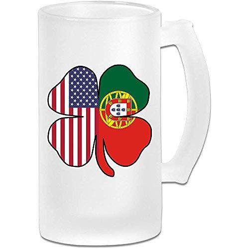 Amerikaanse Portugal vlag Shamrock Frosted glas Stein bier mok, pub mok, drank mok, geschenk voor bier Drinker, 500Ml (16.9Oz)