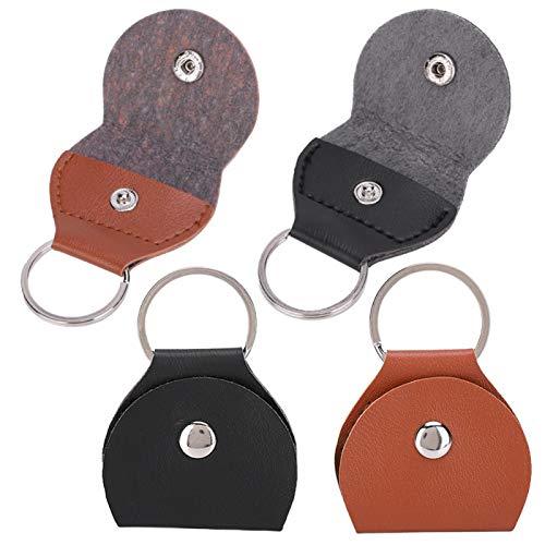 Bolsa para púas de guitarra, 4 piezas, llavero colgante portátil, bolsa para púas de guitarra, accesorios para cajas, negro, marrón