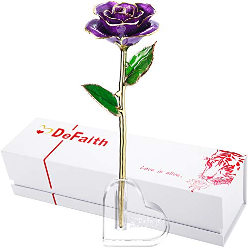 DEFAITH 24k Gold Dipped Rose with Crystal Stand, Great Love Gifts for Her Wife Mother Valentine's Day Anniversary Birthday (B. Purple)