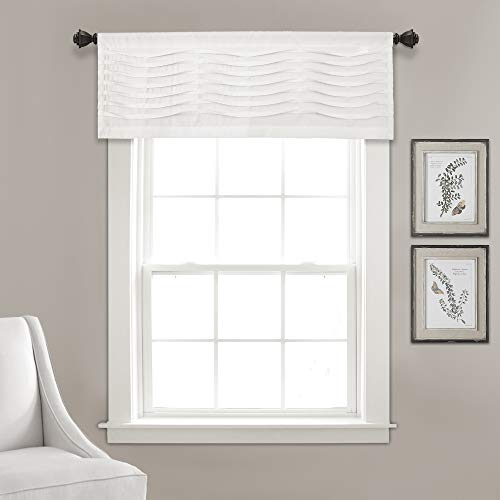 "Lush Decor, White Wave Texture Valance | Pleated Ruffle Fold Window Kitchen Curtain (Single), 18"" x 52"