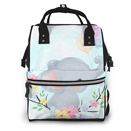 Shichangwei Diaper Bag Backpack Travel Bag Large Multifunction Waterproof Baby Elephant with Balloons Stylish and Durable Nappy Bag for Baby Care School Backpack