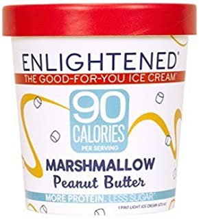 Enlightened - The Good For You Ice Cream, High Protein-Low Sugar-High Fiber-Low Fat, Marshmallow Peanut Butter, Pint (8 Count)