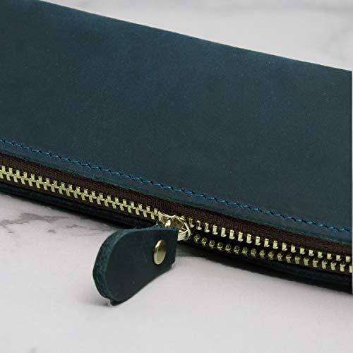 Collasaro(コラサロ)ペンケース革手作りレザー筆箱大容量おしゃれスリムシンプル(藍鉄色)