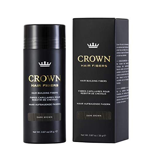 CROWN HAIR FIBERS for Thinning Hair (DARK BROWN) - Instantly Thickens Thinning or Balding Hair for Men & Women - 0.87oz/25g Bottle - Best Natural Keratin Hair Loss Concealer
