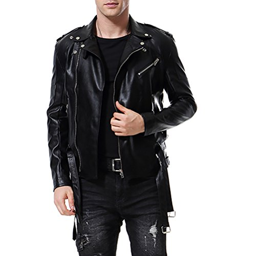 AOWOFS Men's Faux Leather Jacket Double Belt Punk Motorcycle Zip Slim Fit Biker Jacket