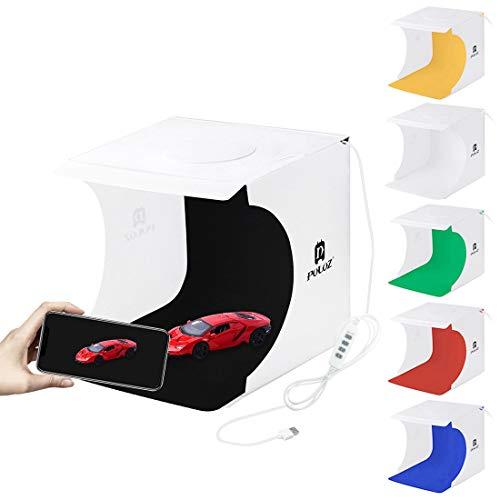 Huanxin Foto-Studio-Licht Box Portable Folding Fotografie Licht-Zelt-Kit Mit LED-Leuchten, 9.4 X 9.1 X8.7/24 X 23 X22cm Mit 6 Farben Hintergründen