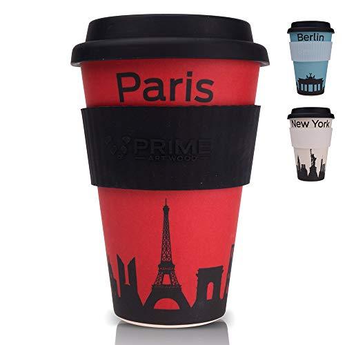 PRIME ART WOOD® Bambus Coffee-to-Go Becher (inkl. optimalem Hitzeschutz) Kaffee-Becher, Trink-Becher | Umweltfreundlich, Spülmaschinenfest, Lebensmittelecht, 450ml (Rot, Paris)