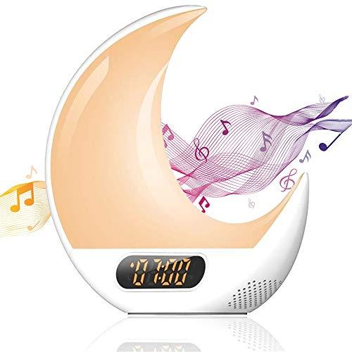 HHHKKK Radio Despertador Despertador Luz, Wake Up Light Simulación Amanecer/Atardece, Ayuda Dormir, Radio FM, Función Snooze, 7 Colores Luces Despertador para Adulto Niños
