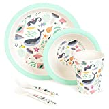 boppi 5-Piece Bamboo Eco Friendly Children's Dinnerware and Cutlery Set for Kids with Dishwasher Safe and BPA Free Round Plate Fruit Cereal Bowl Juice Cup Beaker Fork and Spoon - Under The Sea