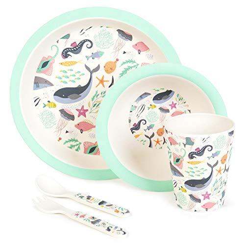 Boppi - Juego de vajilla y cubiertos de bambú ecológicos para niños con lavavajillas y sin BPA, plato redondo para frutas y cereales, taza de zumo, tenedor y cuchara - Bajo el mar
