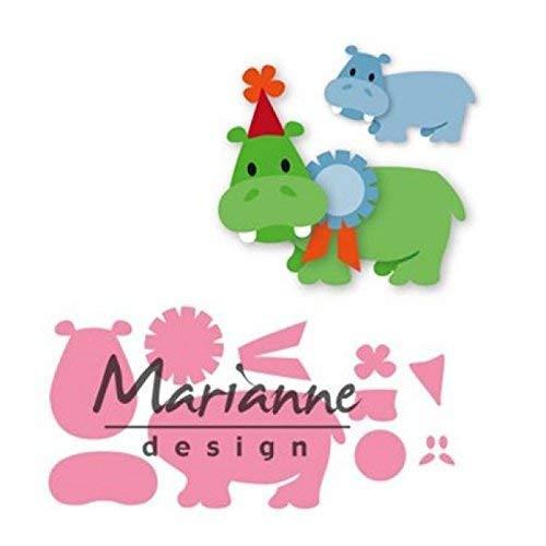 Marianne Design Collectables, Glückliches Nilpferd, für Detaillierte Stanzformen und Prägedetails im Papierhandwerk, Metall, rosa, 20,6 x 16