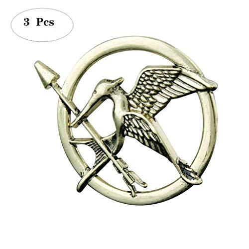 Formemory 3Pcs Hunger Games Pin / Brosche Tribute von Panem Bronze Silber Brosche,Katniss Mockingjay Brosche (Bronze)