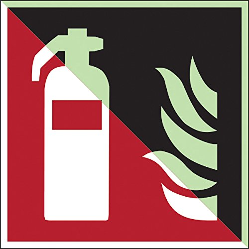 Brady 836678 brandbestrijdingsklasse C zelfklevend polypropyleenbord, brandblussers, 150 mm x 150 mm, Photoluminescent op rood
