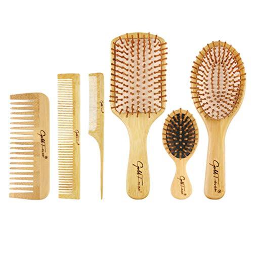 Solustre Cepillo de Pelo Peine Conjunto Bambú Airbag Cuero Cabelludo Masaje Cepillo Kit de Herramientas de Peinado para Salón de Peluquería Hogar
