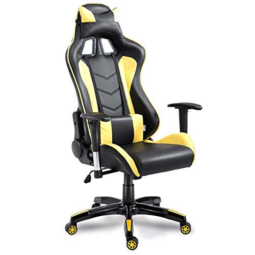 HEEGNPD PU lederen bureaustoel draaibaar liggende executive racing game stoel