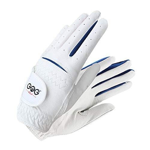 DIMPLEYA Golf Handschuhe Kinder Linke Hand Rechte Hand Golfhandschuh Jungen Mädchen Solf Leder Atmungsaktiv Elastische Perfekt Für Anfänger Golf 2 Paar,Blau,17