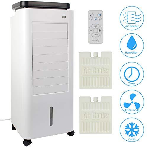 4in1 Arebos Aircooler | 5,5 Liter | Mobile Klimaanlage | Luftreiniger | Ventilator mit Fernbedienung | Luftkühler | Timer | 4 Stufen
