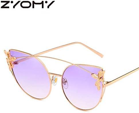 RJGOPL des lunettes de soleil Zyomy feminino óculos de sol feminino armação de metal vintage retro óculos de condução abelha marca designer óculos sol olho gato No.4 Purple