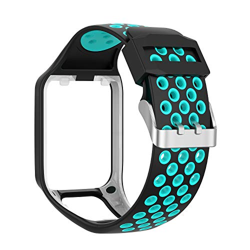 Compatible with Tomtom Spark 3 / Runner 2 3 / Golfer 2 Watch Band Replacmenr Silicone Straps Wristband Sport Band for Tomtom Runner 2 3 and Tomtom Spark 3 GPS Fitness Watch (Blue/Teal)