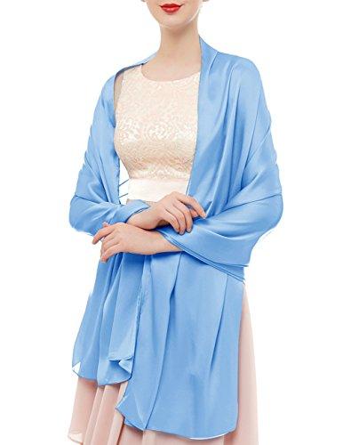 bridesmay Seide Halstuch 180 * 90cm Stola Schal Seidenschal Festlich Hochzeit für Kleider in verschiedenen Farben Light Blue