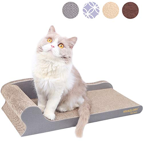 VIVAGLORY Griffoir Chats Carton, Griffoir Carton Ondulé pour Chat, Salon de Griffoir pour Chat pour...